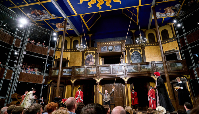 The Merchant of Venice plays at the pop-up Globe Theatre until September 20.
