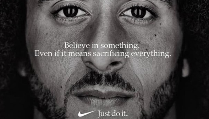 Nike ad featuring NFL player Colin Kaepernick