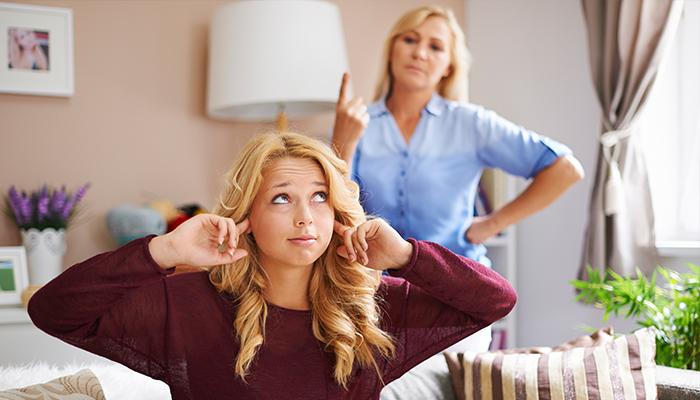 Teenager ignoring parent in argument