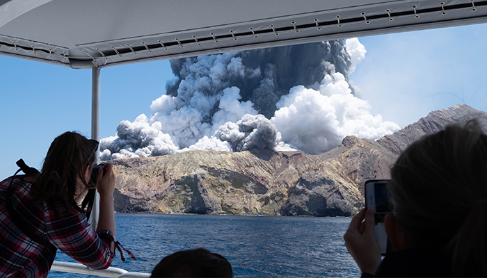 White Island volcano eruption. Credit: Michael Schade/Twitter