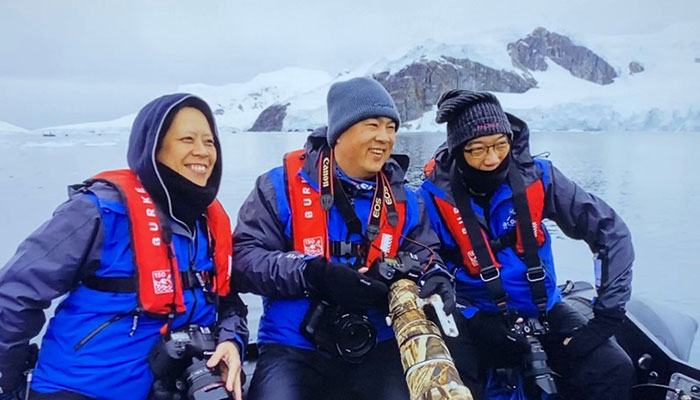 Professor Alvin Ing on a tender boat in Antarctica off the Greg Mortimer cruise ship in March 2020