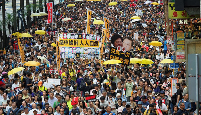 Protesters in the streets of Hong Kong