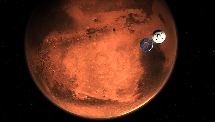 Illustration of Perseverance rover approaching Mars