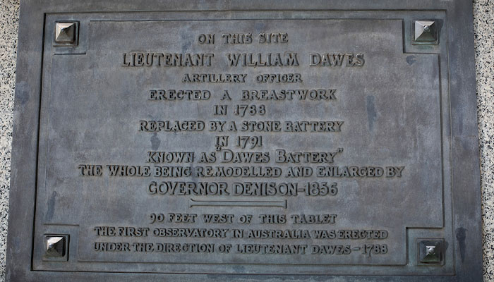 Plaque marks site of Sydney's first observatory.