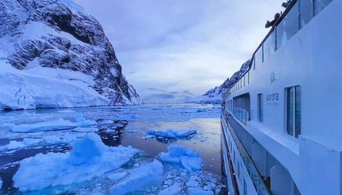The Greg Mortimer cruise ship in Antarctica March 2020