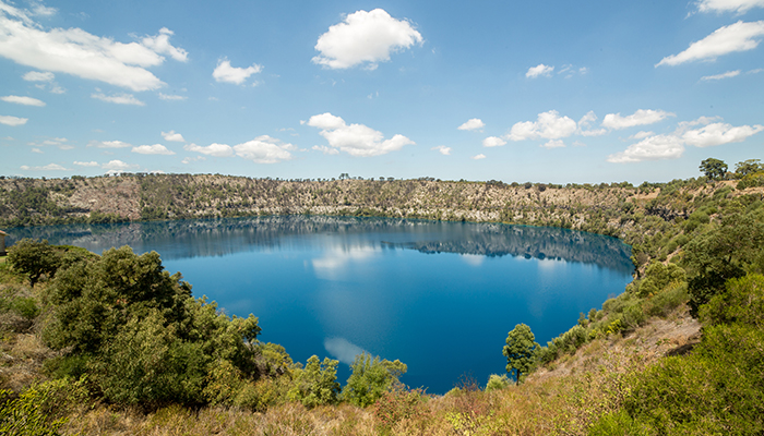 View of blue lake volcanic crater at Mount Gambier-South Australia