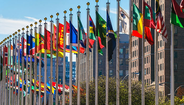 Flags outside the UN building in Manhattan, New York.